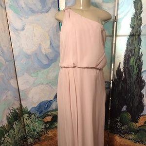 Adrianna Papell L Pink Chiffon One Shoulder Dress